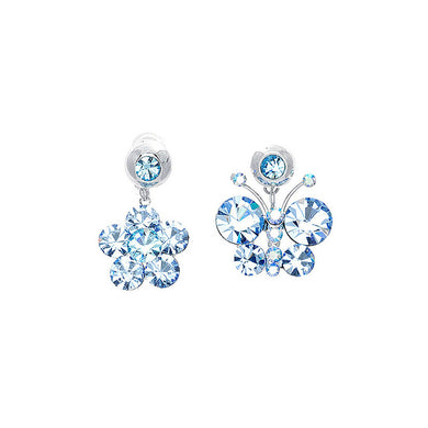 Elegant Butterfly and Flower Earrings with Blue Austrian Element Crystals