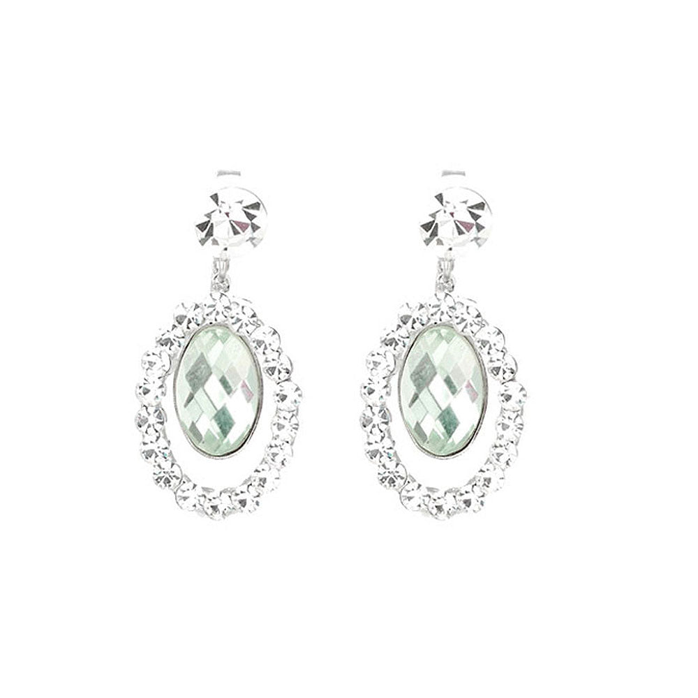 Oval Shape Earrings with Silver Austrian Element Crystals and very Light Green Crystal Glass