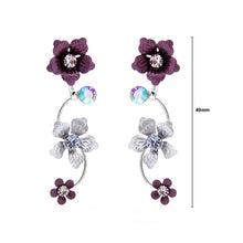 Load image into Gallery viewer, Purple Flower Shape Earrings with Purple Austrian Element Crystals