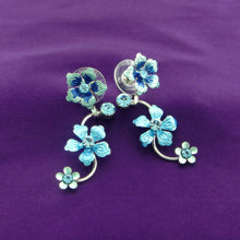Load image into Gallery viewer, Blue Flower Shape Earrings with Blue Austrian Element Crystals