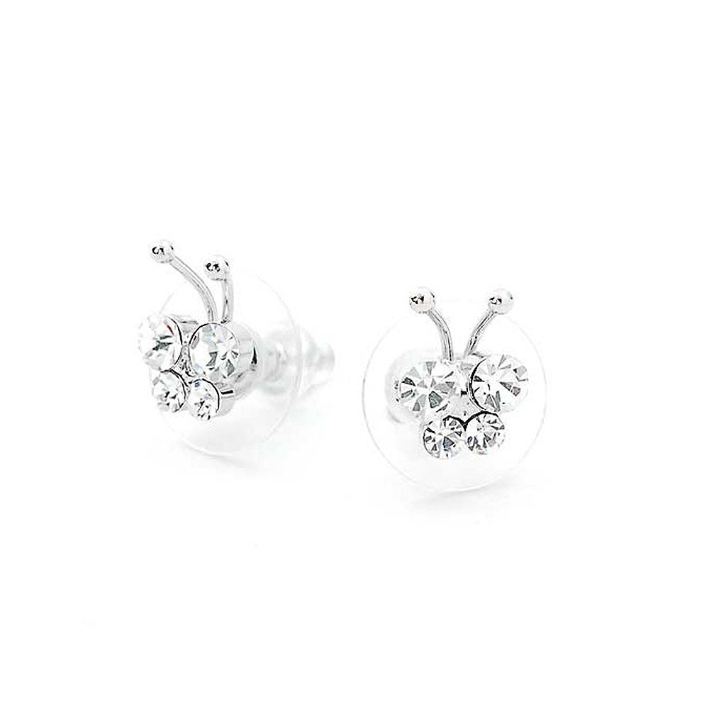 Mini Butterfly Earrings with Silver Austrian Element Crystals