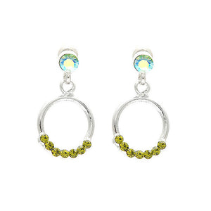 Elegant Round Earrings with Green Austrian Element Crystals