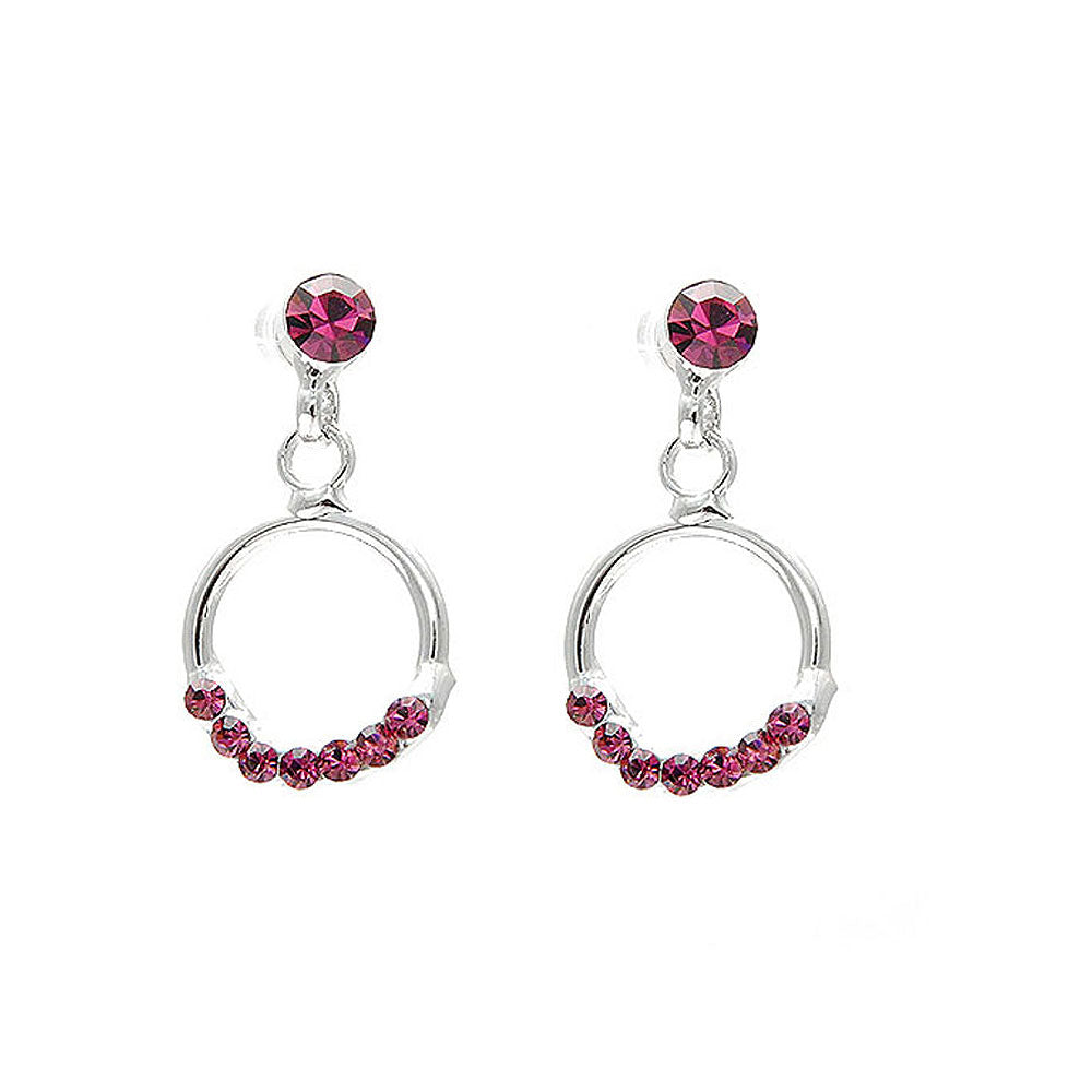 Elegant Round Earrings with Purple Austrian Element Crystals