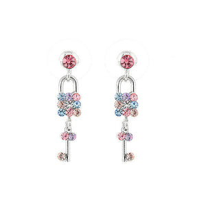 Dazzling Key and Lock Earrings with Multi Color Austrian Element Crystals