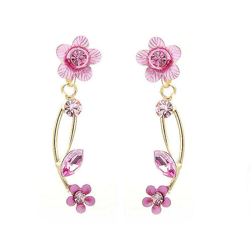Pink Flower Shape Golden Earrings with Pink Austrian Element Crystals