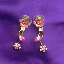 Load image into Gallery viewer, Pink Flower Shape Golden Earrings with Pink Austrian Element Crystals
