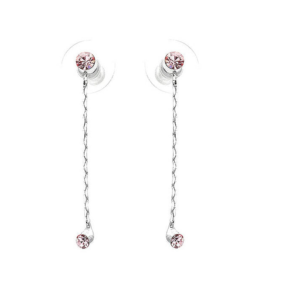 Simple Elegant Silver Pair Earrings with Pink Austrian Element Crystals
