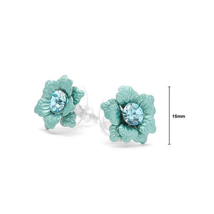 Blue Flower Earrings with Austrian Element Crystal