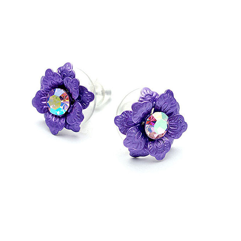 Purple Flower Earrings with Austrian Element Crystal