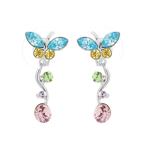 Dancing Butterfly Earrings with Multi-colour Austrian Element Crystals and Crystal Glass