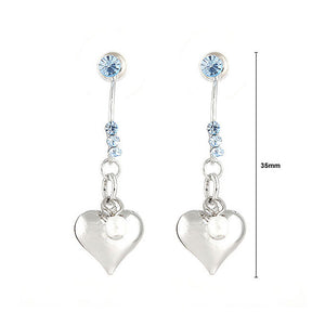 Loving Heart Earrings with Blue Austrian Element Crystals