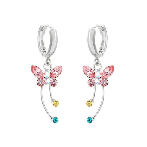 Spread Wings Butterfly Earrings with Multi-colour Austrian Element Crystals and Crystal Glass
