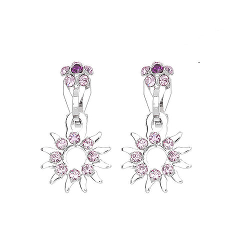 Elegant Sun Shape Non Piercing Earrings with Purple Austrian Element Crystals
