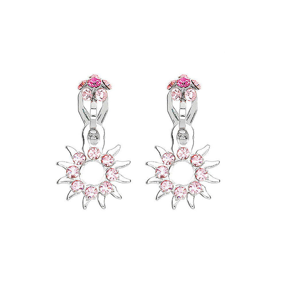 Elegant Sun Shape Non Piercing Earrings with Pink Austrian Element Crystals
