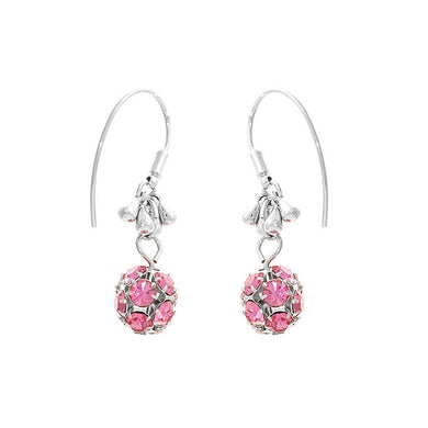 Elegant Ball Shape Earrings with Pink Austrian Element Crystals