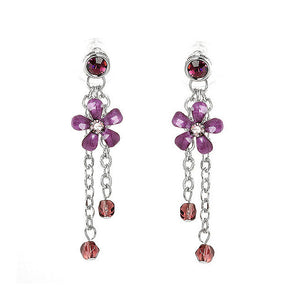 Purple Flower Earrings with Purple Austrian Element Crystals