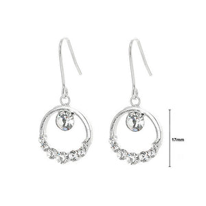 Elegant Round Earrings with Silver Austrian Element Crystals