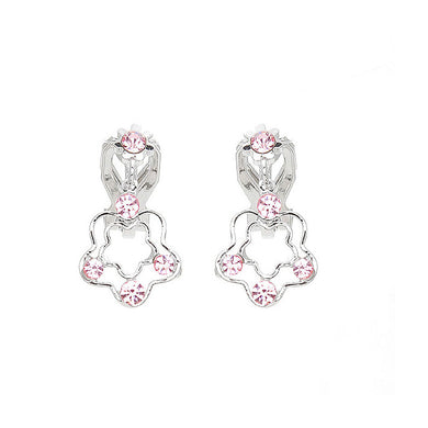Cutie Flower Non Piercing Earrings with Pink Austrian Element Crystals