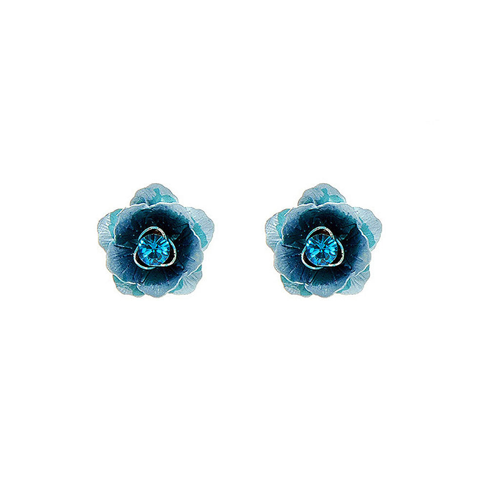 Blue Flower Earrings with Blue Austrian Element Crystals