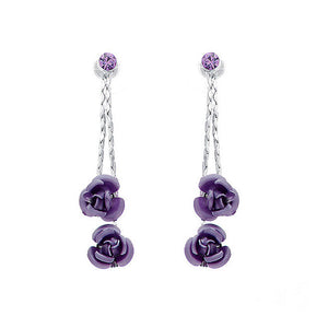 Purple Rose Earrings with Purple Austrian Element Crystals