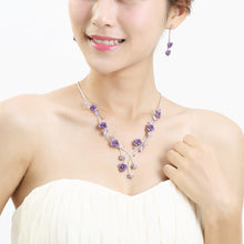 Load image into Gallery viewer, Purple Rose Earrings with Purple Austrian Element Crystals