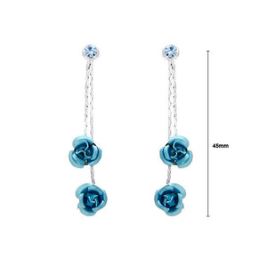 Blue Rose Earrings with Blue Austrian Element Crystals