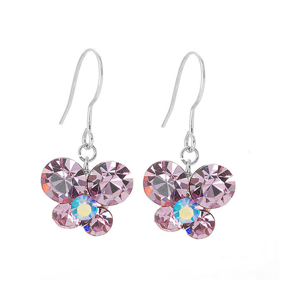 Butterfly Earrings with Purple Austrian Element Crystals