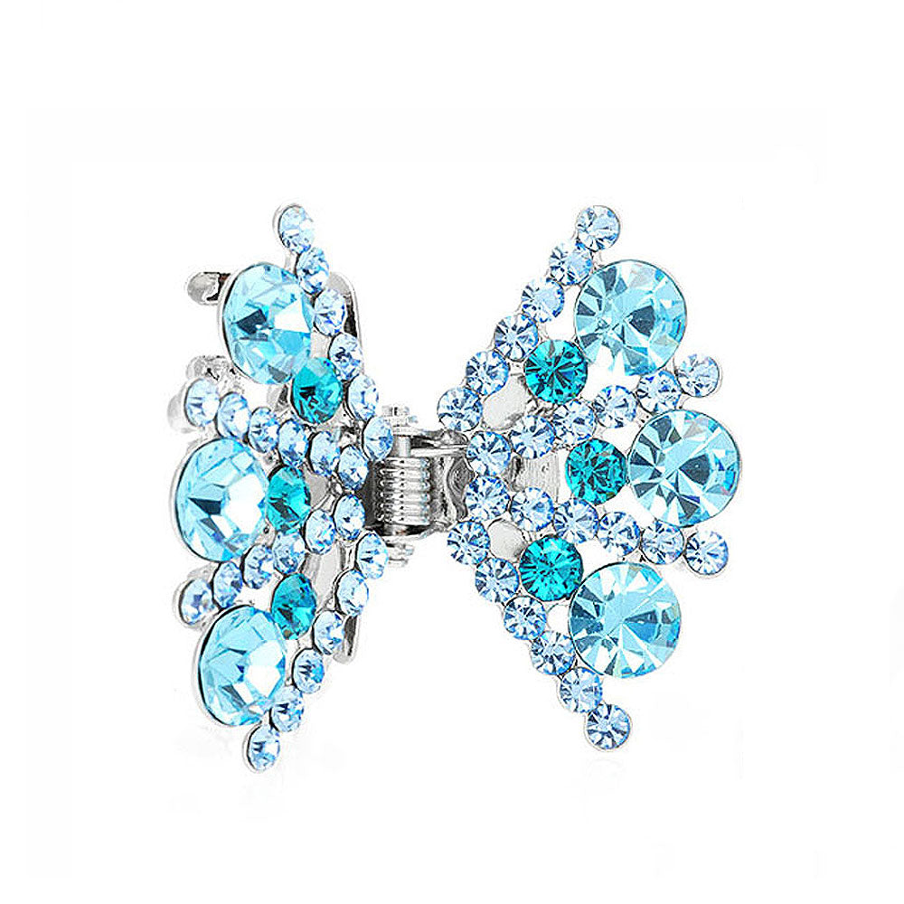 Bow Hair Clip in Light Blue Austrian Element Crystals