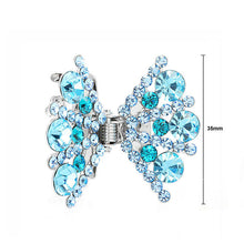 Load image into Gallery viewer, Bow Hair Clip in Light Blue Austrian Element Crystals