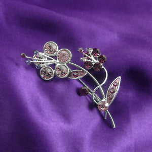 Flower and Leaves Brooch with Purple Austrian Element Crystals