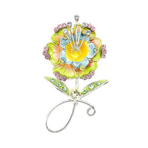 Flower Brooch with Multi-color Austrian Element Crystals