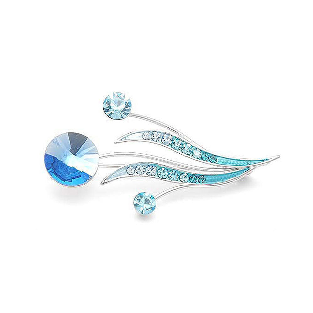 Flower Buds and Leaves Brooch with Blue Austrian Element Crystals and Crystal Glass
