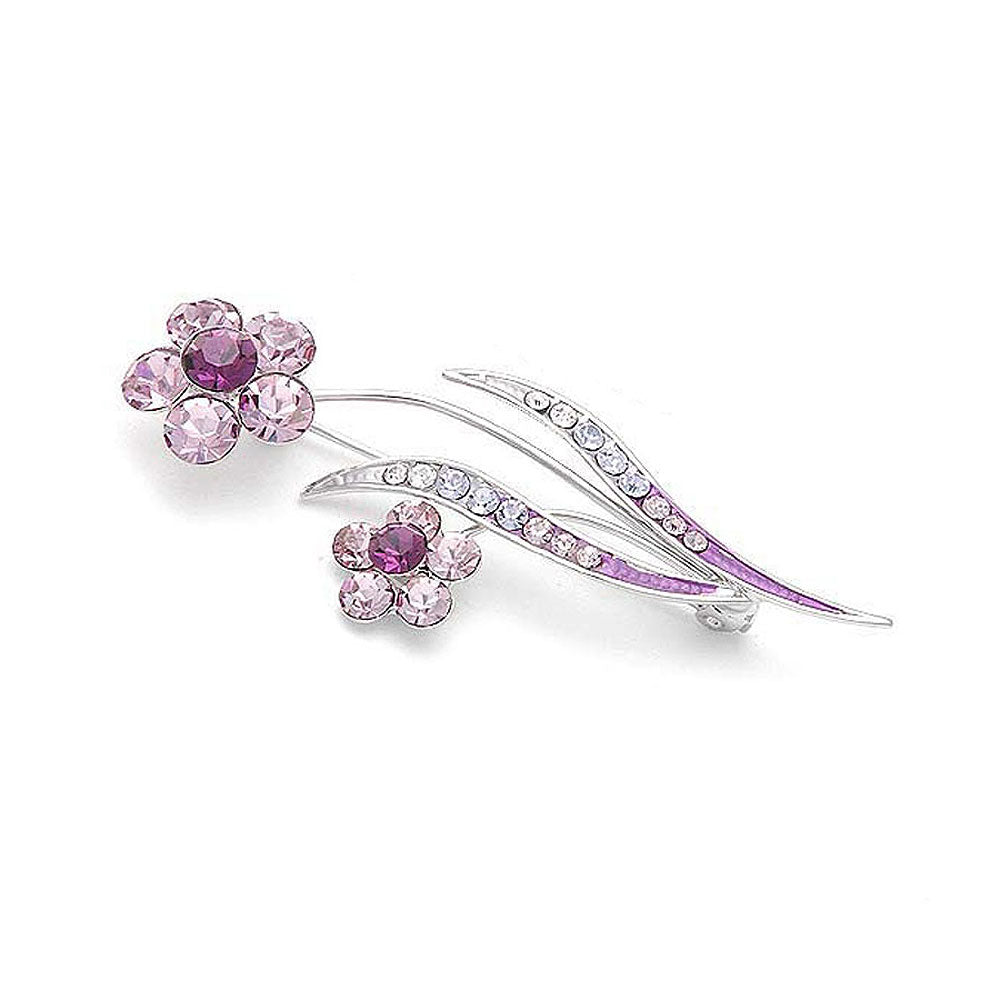 Flower and Leaves Brooch with Purple and Silver Austrian Element Crystals