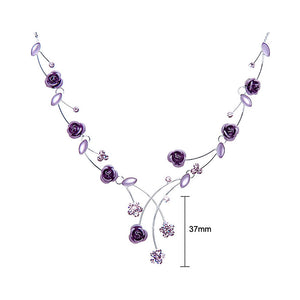 Elegant Rose Necklace with Purple Austrian Element Crystals and Crystal Glass