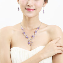 Load image into Gallery viewer, Elegant Rose Necklace with Purple Austrian Element Crystals and Crystal Glass