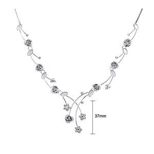 Elegant Rose Necklace with Silver Austrian Element Crystals and Crystal Glass