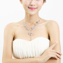 Load image into Gallery viewer, Elegant Rose Necklace with Silver Austrian Element Crystals and Crystal Glass