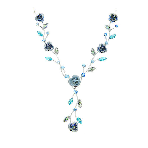 Blue Rose Necklace with Blue Austrian Crystals and Crystal Glass