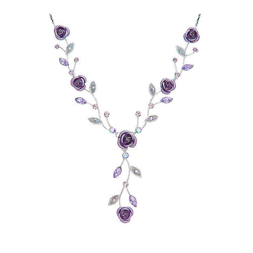 Violet Rose Necklace with Violet Austrian Crystals and Crystal Glass