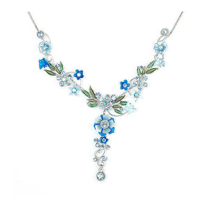 Blue Flower and Tiny Butterfly Necklace with Blue Austrian Element Crystals