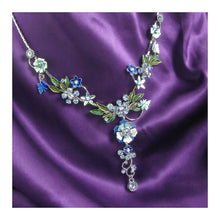 Load image into Gallery viewer, Blue Flower and Tiny Butterfly Necklace with Blue Austrian Element Crystals
