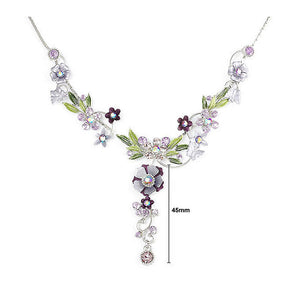 Purple Flower and Tiny Butterfly Necklace with Purple Austrian Element Crystals
