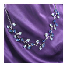 Load image into Gallery viewer, Blue Leaves Necklace with Blue Austrian Element Crystals