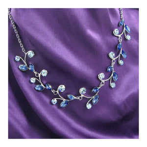 Blue Leaves Necklace with Blue Austrian Element Crystals