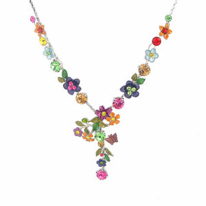 Colorful Flower Necklace with Multi-color Austrian Element Crystals