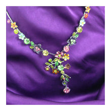Load image into Gallery viewer, Colorful Flower Necklace with Multi-color Austrian Element Crystals