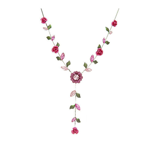 Cherry Pink Rose Necklace with Pink Austrian Crystals
