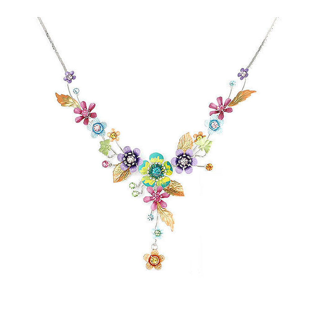 Colorful Flower and Tiny Butterfly Necklace with Multi-color Austrian Element Crystals