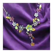 Load image into Gallery viewer, Colorful Flower and Tiny Butterfly Necklace with Multi-color Austrian Element Crystals