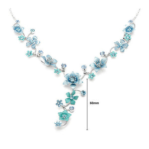Blue Flower Necklace with Blue Austrian Element Crystals